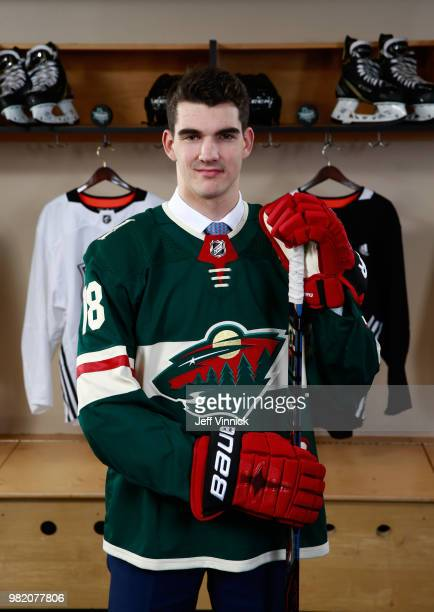 Jack McBain poses for a portrait after being selected 63rd overall by the Minnesota Wild during the 2018 NHL Draft at American Airlines Center on...