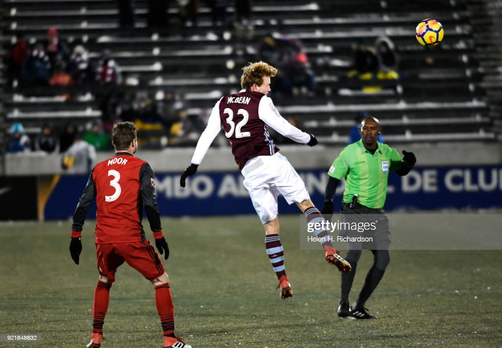 Jack McBean of the Colorado Rapids heads the ball towards a teammate during the second half of the CONCACAF Champions League Game at Dick's Sporting Goods Park on February 20, 2018 in Commerce City, Colorado. This is the first round of 16 in the CONCACAF Champions League game. The Colorado Rapids lost to Toronto FC, the defending MLS Cup champs, 2-0. The coldest game on record is 19 degrees at kickoff. Tonight's game was in the single digits.