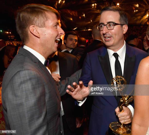 Jack McBrayer and John Oliver attend the HBO's Official 2017 Emmy After Party at The Plaza at the Pacific Design Center on September 17 2017 in Los...