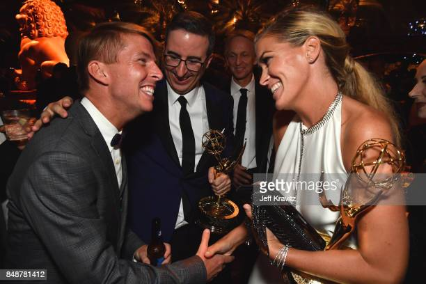 Jack McBrayer John Oliver and Kate Norley attend the HBO's Official 2017 Emmy After Party at The Plaza at the Pacific Design Center on September 17...