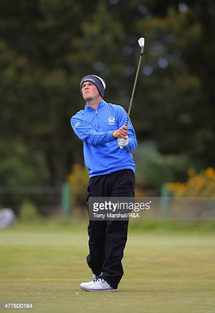 Jack McDonald of Kilmarnock plays his first shot on the 13th tee during The Amateur Championship 2015 Day Four at Carnoustie Golf Club on June 18...