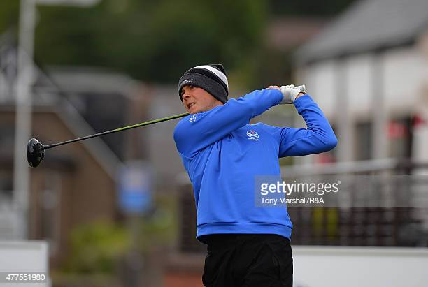 Jack McDonald of Kilmarnock plays his first shot on the 1st tee during The Amateur Championship 2015 Day Four at Carnoustie Golf Club on June 18 2015...