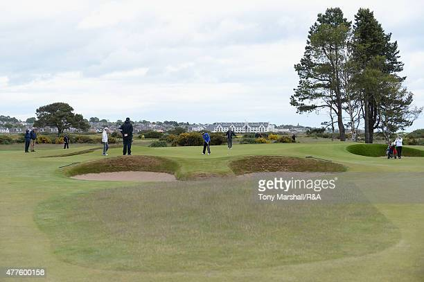 Jack McDonald of Kilmarnock putts on the 13th green during The Amateur Championship 2015 Day Four at Carnoustie Golf Club on June 18 2015 in...