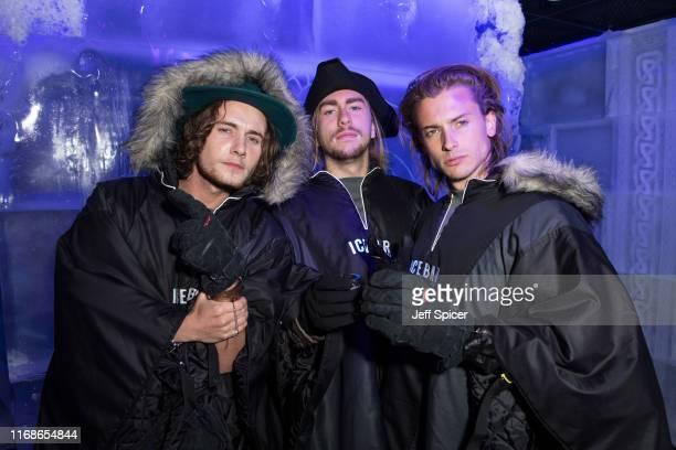 Jack McEvoy Caleb Rowen and Elijah Rowen attend a VIP event in celebration of Elijah Rowen's birthday at ICEBAR on August 17 2019 in London England