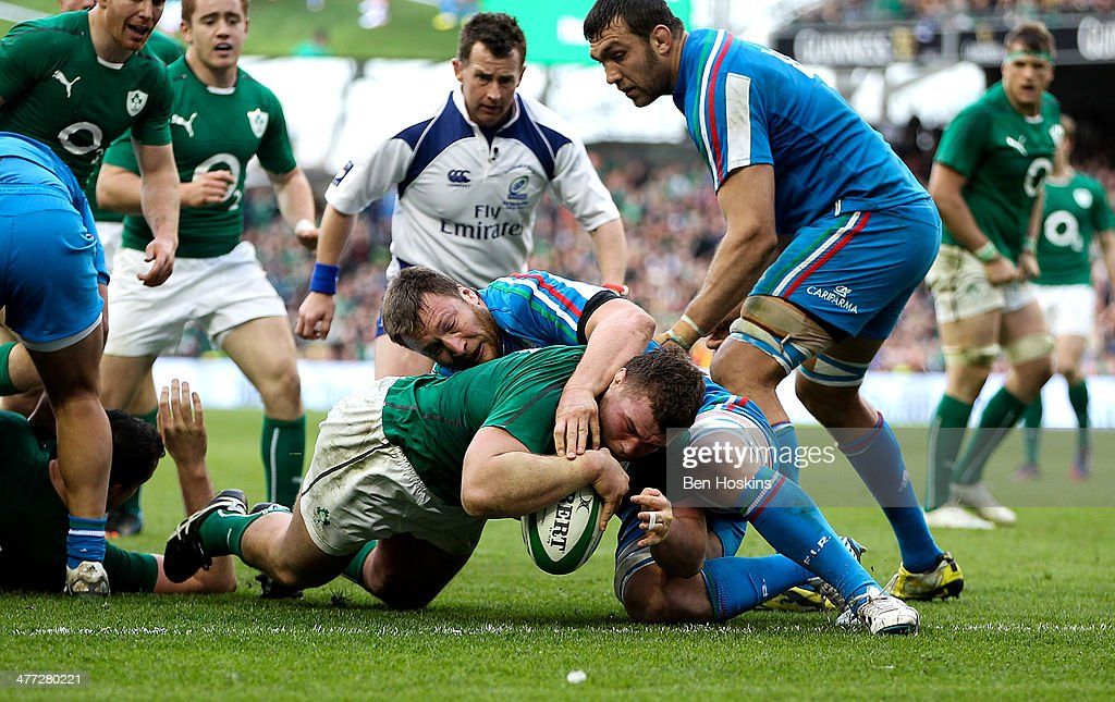 Jack McGrath of Ireland scores a try during the RBS Six Nations match between Ireland and Italy at Aviva Stadium on March 8, 2014 in Dublin, Ireland.