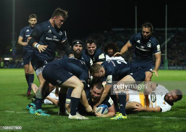 Jack McGrath of Leinster Rugby celebrates after scoring the eighth try during the Champions Cup match between Leinster Rugby and Wasps at RDS Arena...