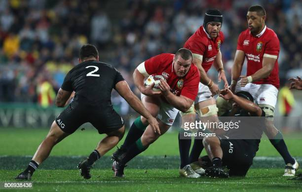 Jack McGrath of the Lions breaks with the ball during the match between the New Zealand All Blacks and the British Irish Lions at Westpac Stadium on...
