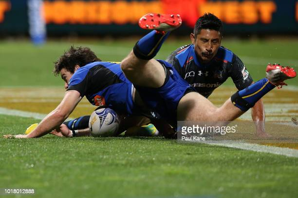 Jack McGregor of the Force crosses for a try during the World Series Rugby match between the Force and Wild Knights at nib Stadium on August 17 2018...
