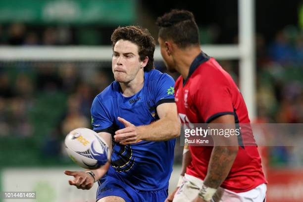 Jack McGregor of the Force passes the ball during the World Series Rugby match between the Force and Hong Kong at nib Stadium on August 10 2018 in...