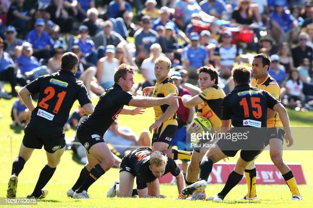 Jack McGregor of the Force runs the ball during the round two NRC match between Western Force and NSW Country Eagles at UWA Sports Park on September...