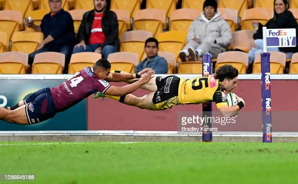 Jack McGregor of the Force scores a try during the round three Super Rugby AU match between the Reds and Force at Suncorp Stadium on July 17, 2020 in...