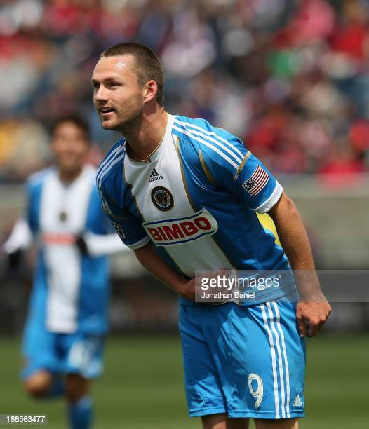 Jack McInerney of the Philadelphia Union takes a bow after scoring the game winning goal against Chicago Fire during an MLS match at Toyota Park on...