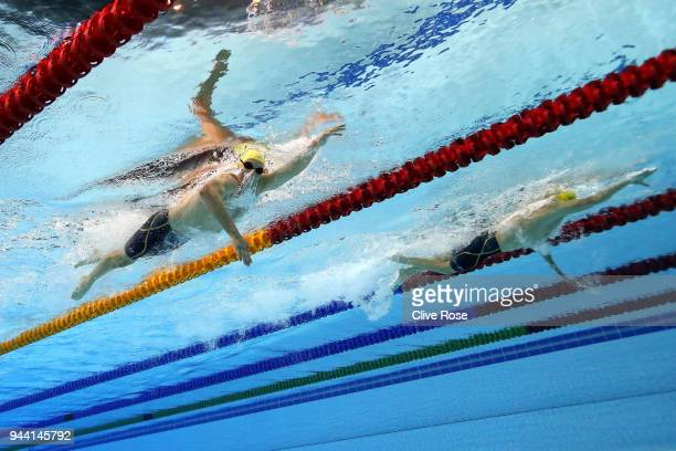 Jack McLoughlin of Australia and Mack Horton of Australia compete during the Men's 1500m Freestyle Final on day six of the Gold Coast 2018...