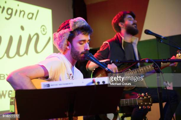 Jack Met and Adam Met of AJR perform at Original Penguin Celebrates New York Fashion Week at Pianos on February 6 2018 in New York City
