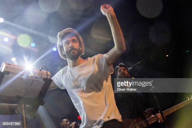 Jack Met and Adam Met of AJR perform at The Belasco Theater on March 20 2018 in Los Angeles California