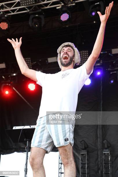Jack Met of AJR performs during the 2018 Forecastle Music Festival at Louisville Waterfront Park on July 13 2018 in Louisville Kentucky