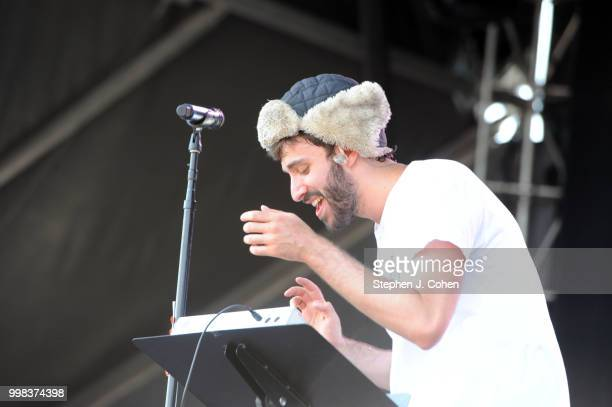 Jack Met of AJR performs during the 2018 Forecastle Music Festival on July 13 2018 in Louisville Kentucky