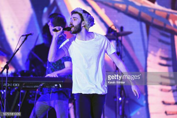Jack Met of AJR performs on stage during the KROQ Absolut Almost Acoustic Christmas at The Forum on December 8 2018 in Inglewood California