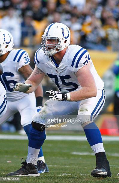 Jack Mewhort of the Indianapolis Colts blocks during the game against the Pittsburgh Steelers on September 26, 2014 at Heinz Field in Pittsburgh,...