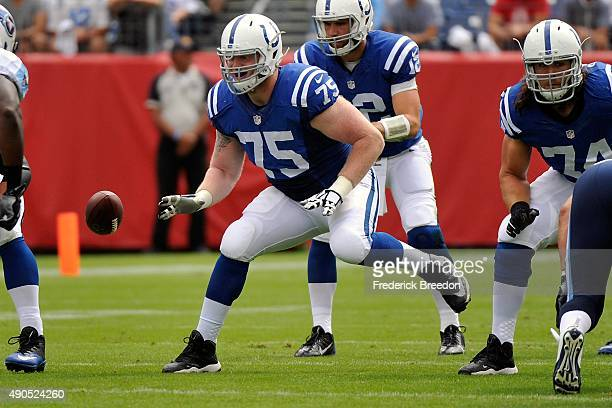 Jack Mewhort of the Indianapolis Colts plays against the Tennessee Titans at Nissan Stadium on September 27, 2015 in Nashville, Tennessee.