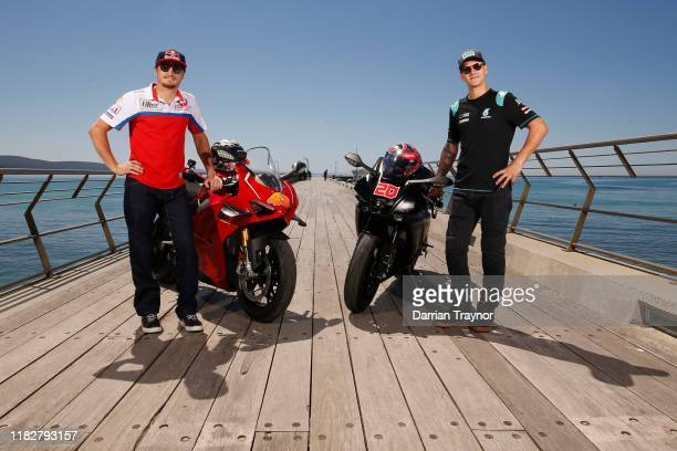 Jack Miller and Fabio Quartararo pose for a photo on the Lorne Pier in Victoria ahead of the 2019 Australian MotoGP on October 23 2019 in Melbourne...