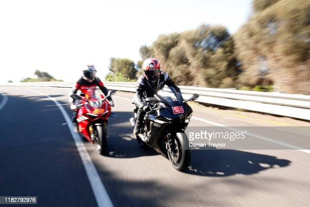 Jack Miller and Fabio Quartararo ride along The Great Ocean Road near Lorne in Victoria ahead of the 2019 Australian MotoGP on October 23 2019 in...