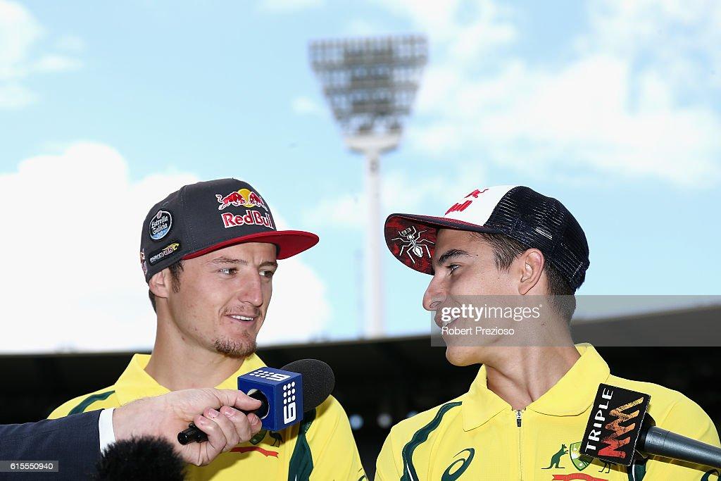 Jack Miller and Marc Márquez speak during the MotoGP of Australia press conference at Melbourne Cricket Ground on October 19, 2016 in Melbourne, Australia.