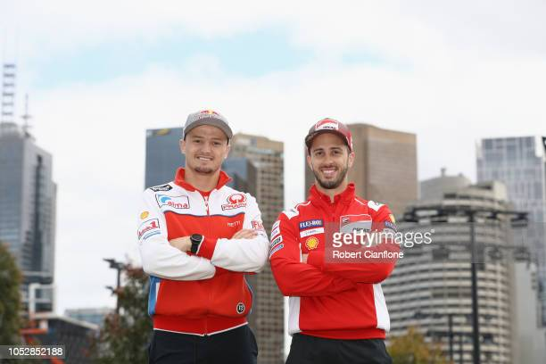 Jack Miller of Australia and Alma Pramac Racing and Andrea Dovizioso of Italy and Ducati Team pose during a media call ahead of the 2018 MotoGP of...