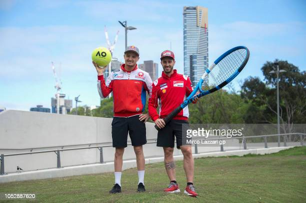 Jack Miller of Australia and Alma Pramac Racing and Andrea Dovizioso of Italy and Ducati Team pose during the MotoGP of Australia Previews during a...
