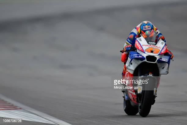 Jack Miller of Australia and Alma Pramac Racing heads down a straight during the qualifying practice during the MotoGP Of Malaysia Qualifying at...