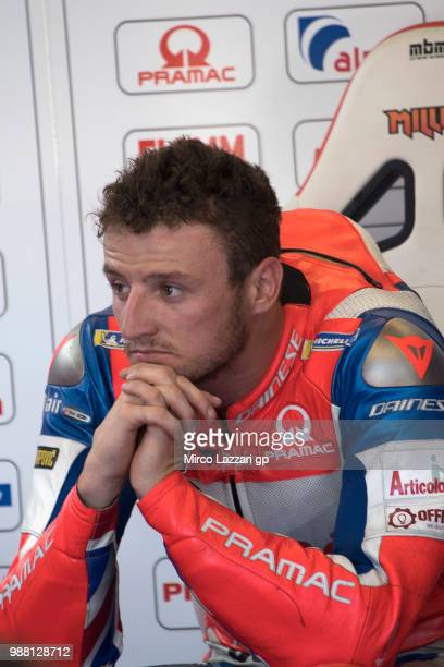 Jack Miller of Australia and Alma Pramac Racing looks on in box during the Qualifying practice during the MotoGP Netherlands Qualifying on June 30...