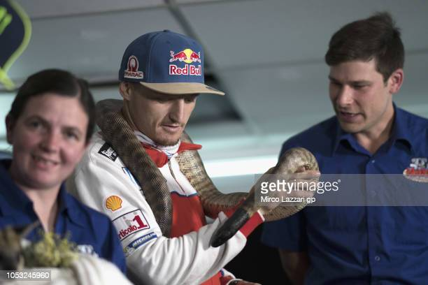 Jack Miller of Australia and Alma Pramac Racing looks on the snake before the press conference during the MotoGP of Australia Previews during...