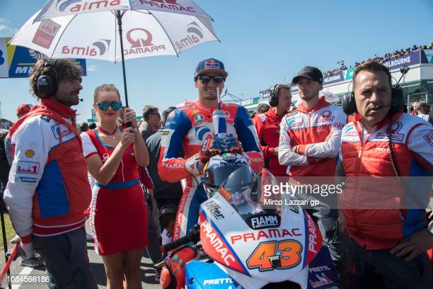 Jack Miller of Australia and Alma Pramac Racing prepares to start on the grid during the MotoGP race during the MotoGP of Australia Race during the...