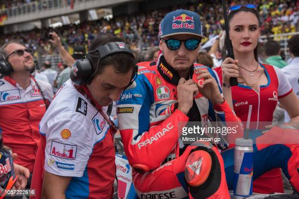 Jack Miller of Australia and Alma Pramac Racing prepares to start on the grid during the MotoGP race during the MotoGP Of Malaysia Race at Sepang...