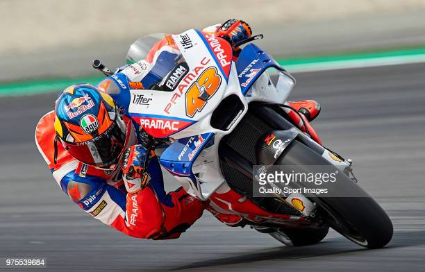 Jack Miller of Australia and Alma Pramac Racing rounds the bend during free practice for the MotoGP of Catalunya at Circuit de Catalunya on June 15...