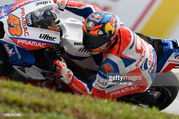 Jack Miller of Australia and Alma Pramac Racing rounds the bend during the MotoGP Of Malaysia Free Practice at Sepang Circuit on November 2 2018 in...