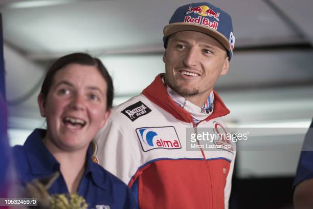 Jack Miller of Australia and Alma Pramac Racing smiles before the press conference during the MotoGP of Australia Previews during previews ahead of...