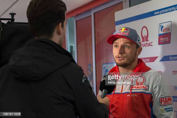 Jack Miller of Australia and Alma Pramac Racing speaks with journalist in hospitality during the MotoGP Of Valencia Previews at Ricardo Tormo Circuit...