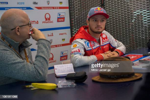 Jack Miller of Australia and Alma Pramac Racing speaks with journalists in hospitality during the MotoGP Of Valencia Previews at Ricardo Tormo...