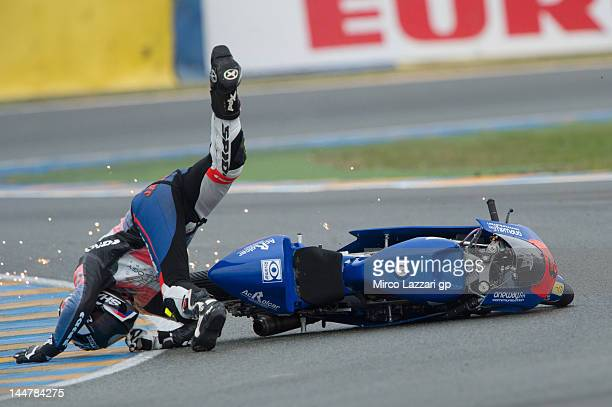 Jack Miller of Australia and Caretta Technology crashed out during the qualifying practice of the MotoGp Of France on May 19 2012 in Le Mans France