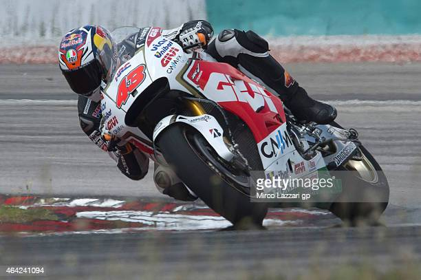 Jack Miller of Australia and CWM LCR Honda rounds the bend during the MotoGP Tests in Sepang Day One at Sepang Circuit on February 23 2015 in Kuala...