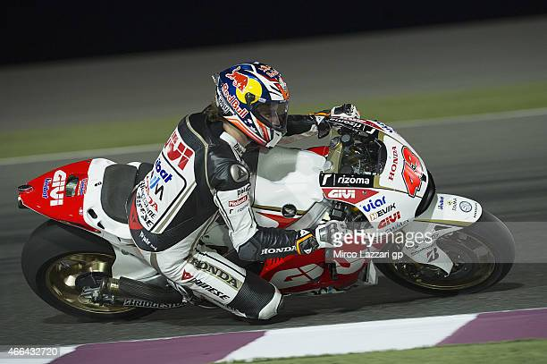 Jack Miller of Australia and CWM LCR Honda rounds the bend during the MotoGP Tests in Qatar Day Two at Losail Circuit on March 15 2015 in Doha Qatar