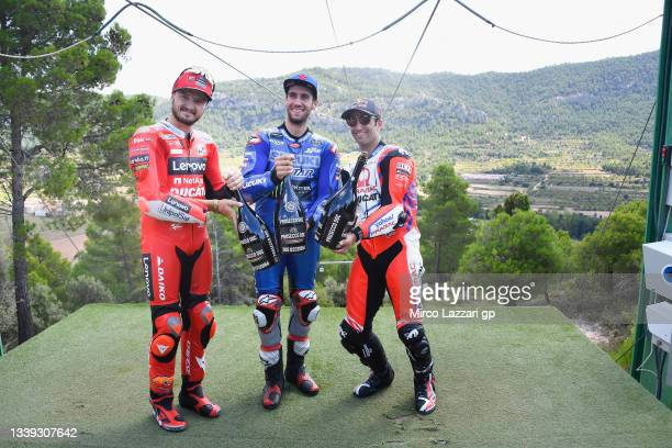 Jack Miller of Australia and Ducati Lenovo Team, Alex Rins of Spain and Team Suzuki ECSTAR and Johann Zarco of France and Pramac Racing celebrate at...