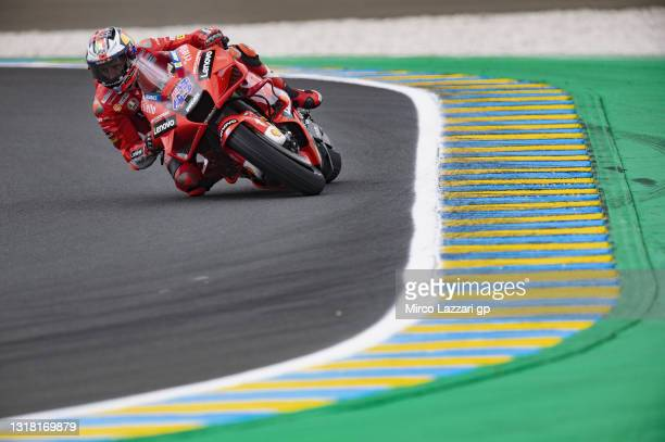 Jack Miller of Australia and Ducati Lenovo Team rounds the bend during Qualifying for the MotoGP of France at Le Mans on May 15, 2021 in Le Mans,...