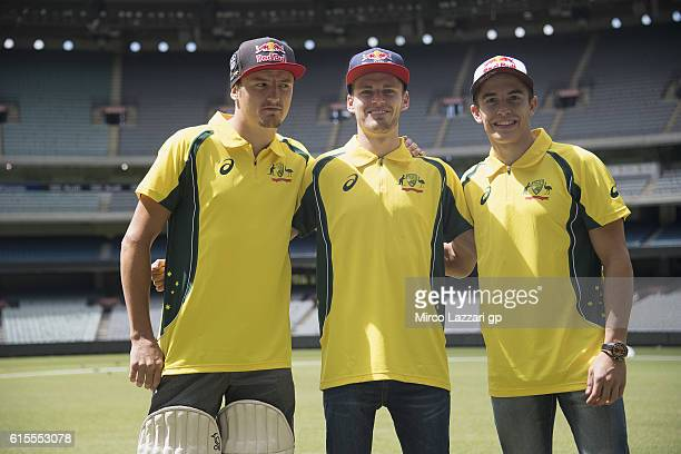 Jack Miller of Australia and Marc VDS Racing Team Brad Binder of South Africa and Red Bull KTM Ajo and Marc Marquez of Spain and Repsol Honda Team...