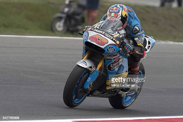 Jack Miller of Australia and Marc VDS Racing Team heads down a straight during the MotoGP Netherlands Free Practice at TT Circuit on June 24 2016 in...