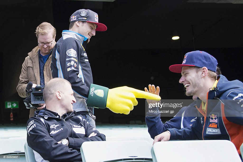 Jack Miller of Australia and Marc VDS Racing Team jokes with Brad Binder of South Africa and Red Bull KTM Ajo during the pre-event in Melbourne Cricket Ground during the MotoGP of Australia - Pre-Event Activities on October 19, 2016 in Melbourne, Australia.