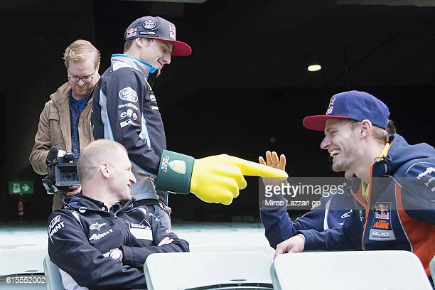 Jack Miller of Australia and Marc VDS Racing Team jokes with Brad Binder of South Africa and Red Bull KTM Ajo during the preevent in Melbourne...