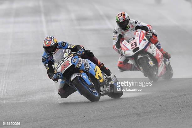 Jack Miller of Australia and Marc VDS Racing Team leads the field during the MotoGP race during the MotoGP Netherlands - Race at on June 26, 2016 in...