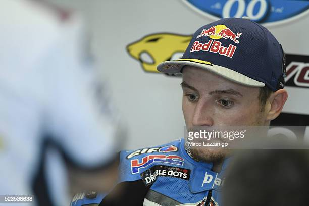 Jack Miller of Australia and Marc VDS Racing Team looks on in box during the MotoGp of Spain Qualifying at Circuito de Jerez on April 23 2016 in...